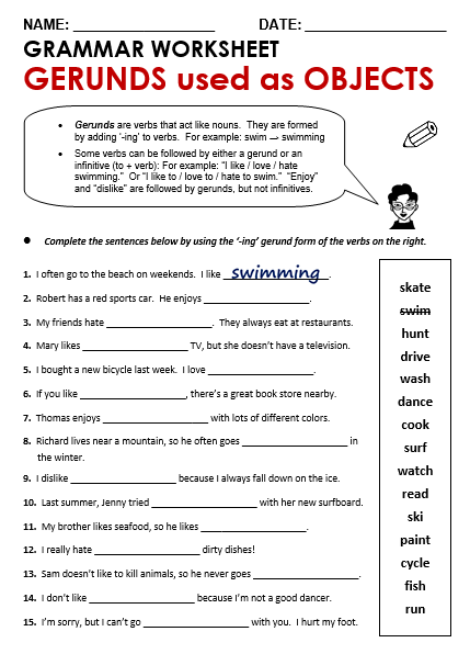 Gerund Or Infinitive Worksheet - Checks Worksheet