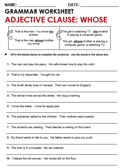 Worksheets Adjective Clauses Worksheet add s or es ies all things grammar worksheet relative clause whose