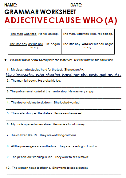 Worksheets Adjective Clauses Worksheet add s or es ies all things grammar worksheet relative clause who a