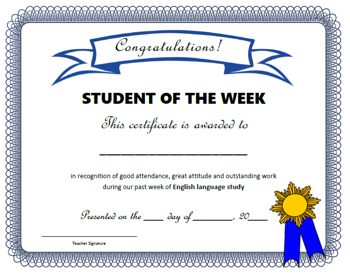 Class certificates all things grammar for Student of the week certificate template free
