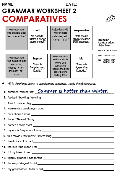 Comparative Adjectives Worksheet Worksheet 2 Comparatives