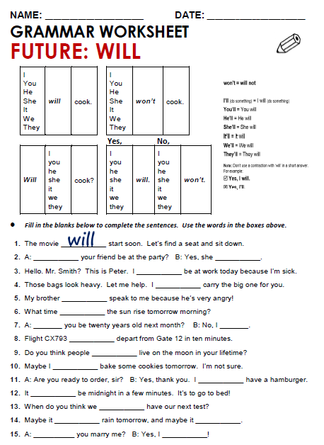 Worksheets Will Worksheet future will all things grammar worksheet will
