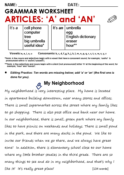Language Arts Worksheets  Printable Worksheets for