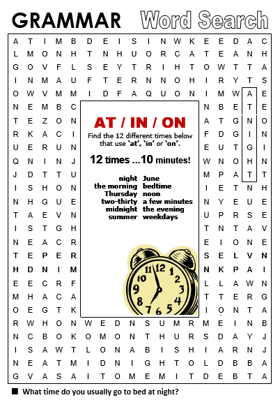 Time at in on all things grammar grammar word search prepositions of time at in ibookread PDF