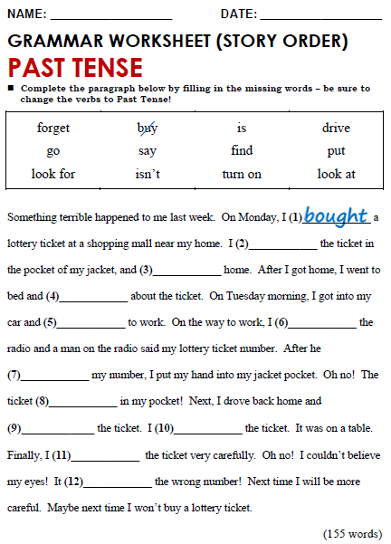 Past Tense Story Worksheet: past simple all things grammar,