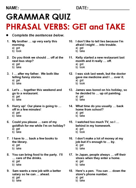 Phrasal Verbs With Get All Things Grammar